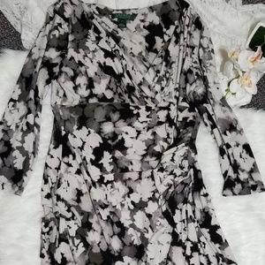 Ralph Lauren Size 14 Black/White Floral Dress